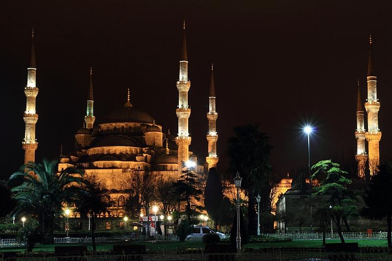 Stambuł - Błękitny Meczet nocą